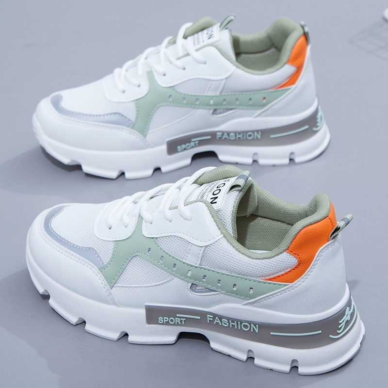Fashion Spring Korean Platform Sneakers Women Shoes Thick Sole Dad Chunky Sneakers Leather Breathable Casual Vulcanize Shoes fashion chunky sneakers runway mixed colors v design sole shoes round toe leisure shoes mesh patchwork dad shoes