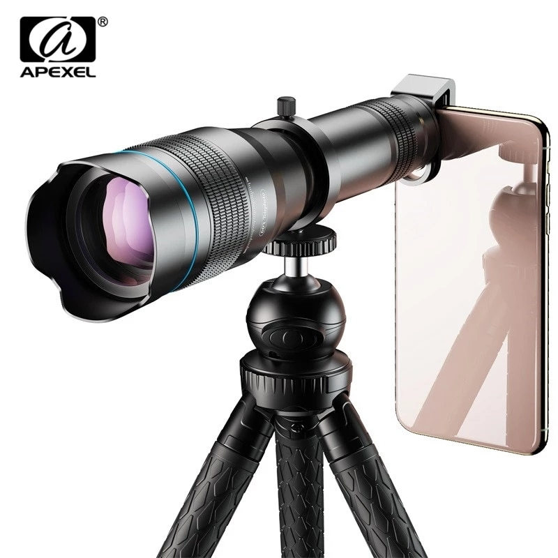 Get APEXEL HD 60X Phone Camera Lens Telescope Lens Super Telephoto Zoom Monocular + Extendable Tripod With Remote For All Smartphone