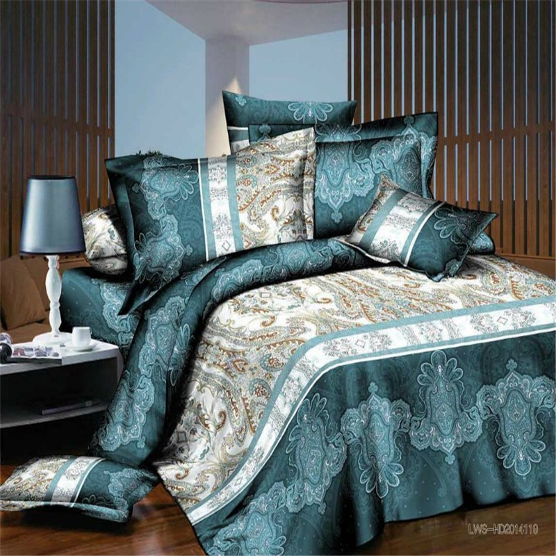 Juego de cama moderno de Cachemira étnico con estampado, funda de edredón de tamaño queen twin, fundas de almohada de sábana, juego de ropa de cama