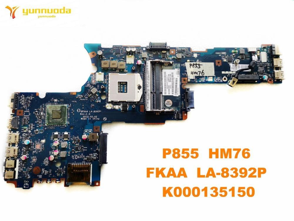 الأصلي ل توشيبا P855 اللوحة الأم المحمول P855 HM76 FKAA LA-8392P K000135150 اختبار جيد شحن مجاني