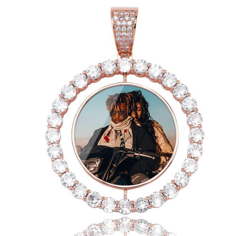 Personalizado quente fazer fotos girando duplo-face medalhões pingente colar aaa zircão cúbico tênis corrente para homem hip hop jóias