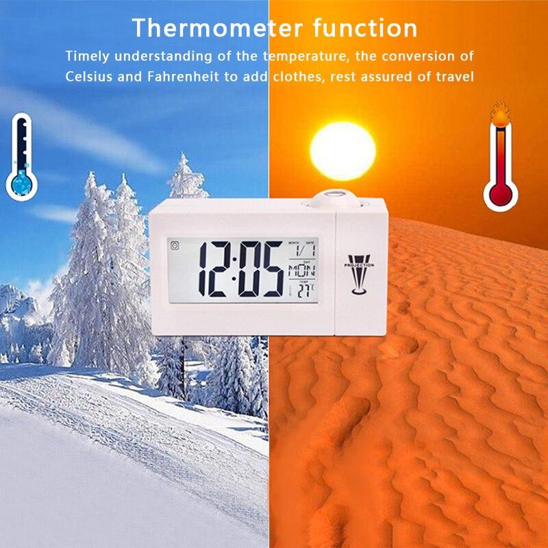 Escritorio reloj con el tiempo reloj de proyección Multi-función de calendario meteorológico reloj de tiempo de temperatura para proyector Digital reloj de alarma