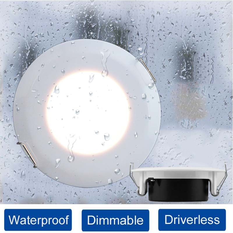 Luz descendente LED impermeable IP44 CA 85V-265V, lámpara empotrable de techo CCT...