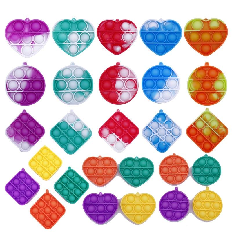 100pcs Mini Push Bubble Toys Fidget Toy Sensory Figet Simple Dimple Toy Keychain Ring Anti-stress Autism Need Educational Toy