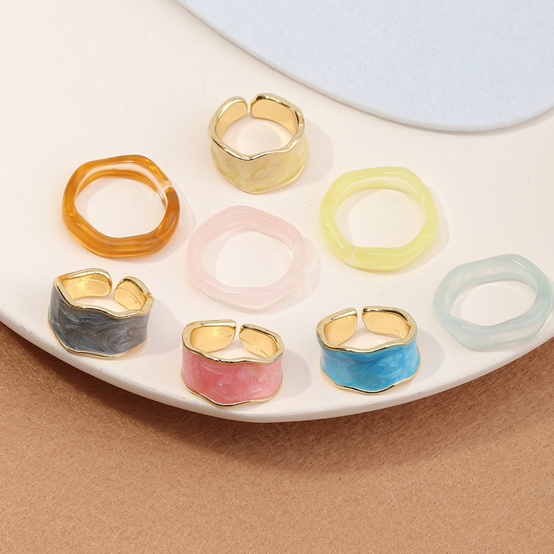 New Fashion Metal Irregular Round Open Width Joints Index Finger Enamel Epoxy Ring Set For Women Party Jewelry Gift