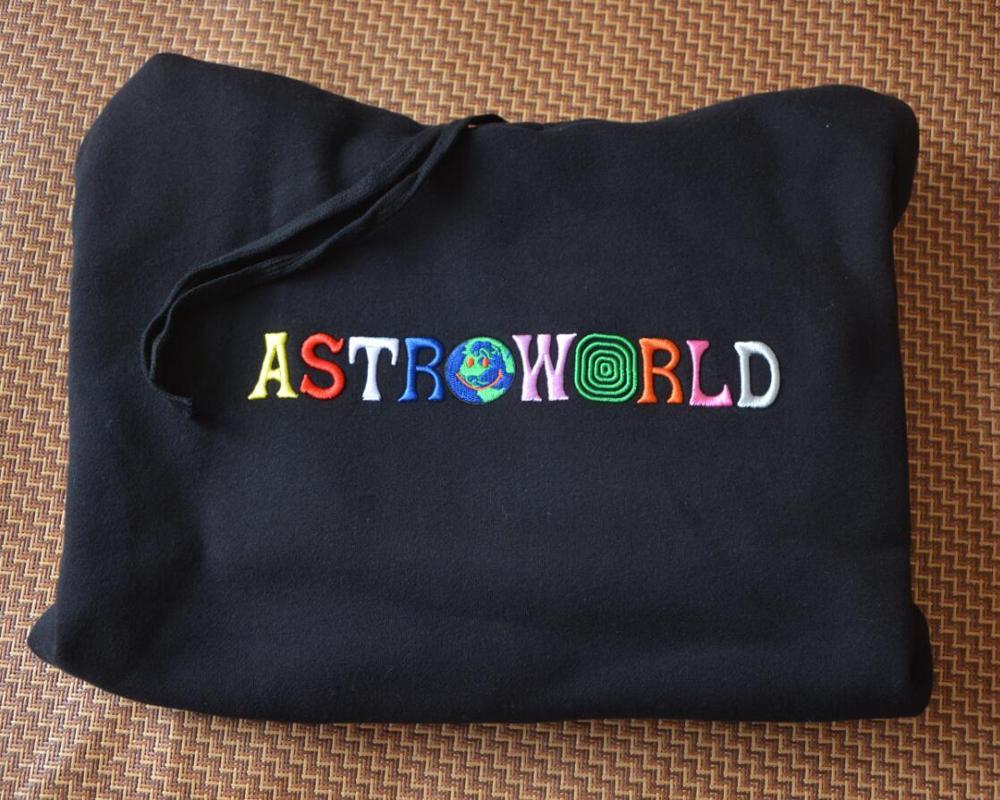 2020 TRAVIS SCOTT Astroworld WISH YOU WERE HERE Embroidered Rainbow Letter Men Women Pullover Hoodie