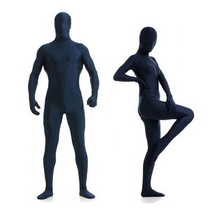 Adult Full Body Spandex Lycra Zentai Suit Dark Blue Tight Suits Pure Color Halloween Party Unitard
