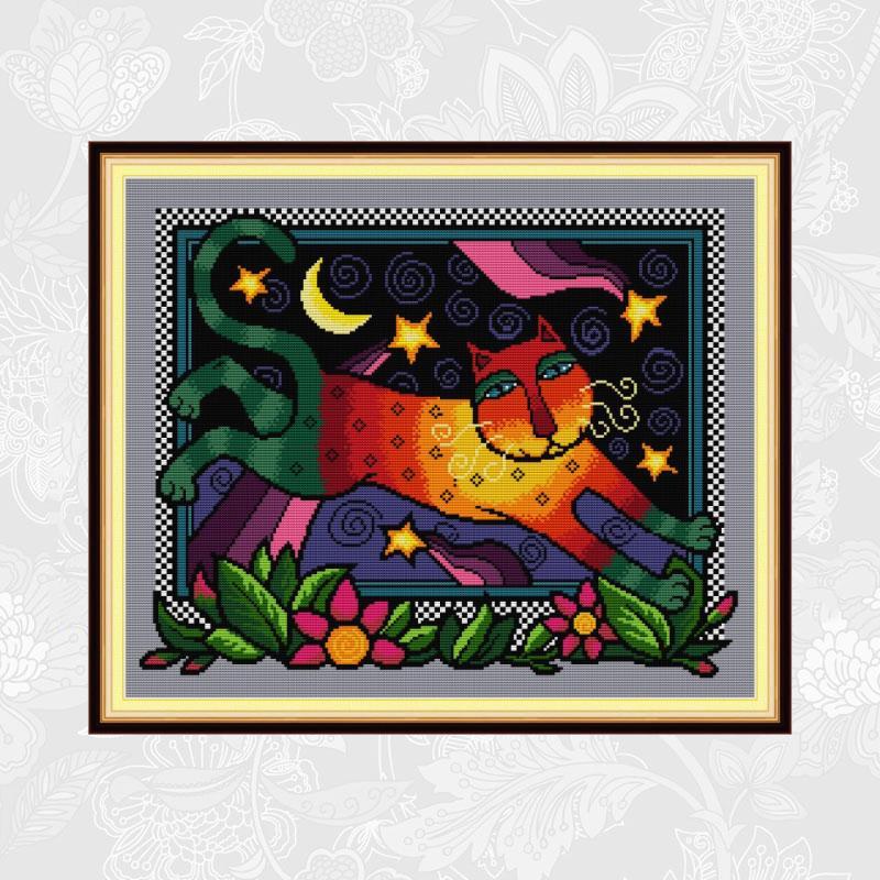Alegría el punto de cruz bordado aguja conjunto de hilos Arco Iris gato con impresión en lona Cruz puntada kits de decoración de hogar