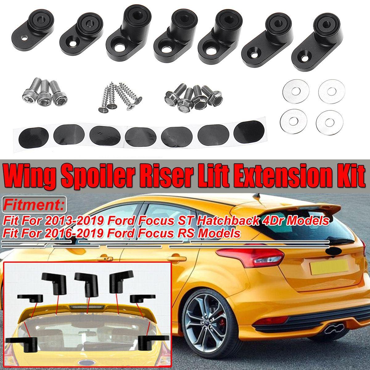 Черный/серебристый автомобиль спойлер заднего багажника, крыла Riser Лифт удлинитель комплект для Ford Focus ST хэтчбек 4Dr 2013-2019 RS 2016-2019