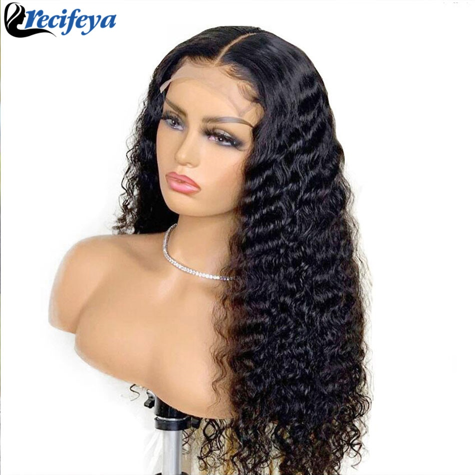 HD 5X5 Deep Wave Lace Closure Wig Remy Human Hair Lace Front Wigs Bleached Knots Wigs Lace Front Wig Deep Curly Human Hair Wigs