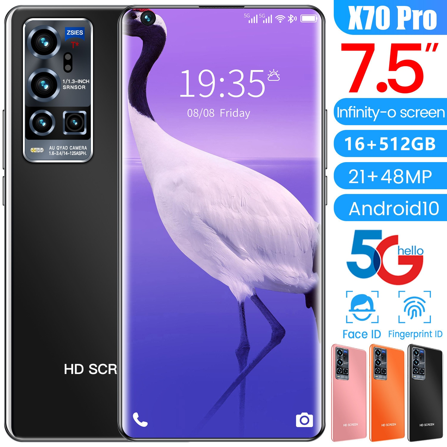 2021 New X70 Pro, 16Gb Ram 512Gb Rom and Dual SIM Unlocked Cellphone, Android 10.0 MTK 6799 Deca Core Mobile Phones