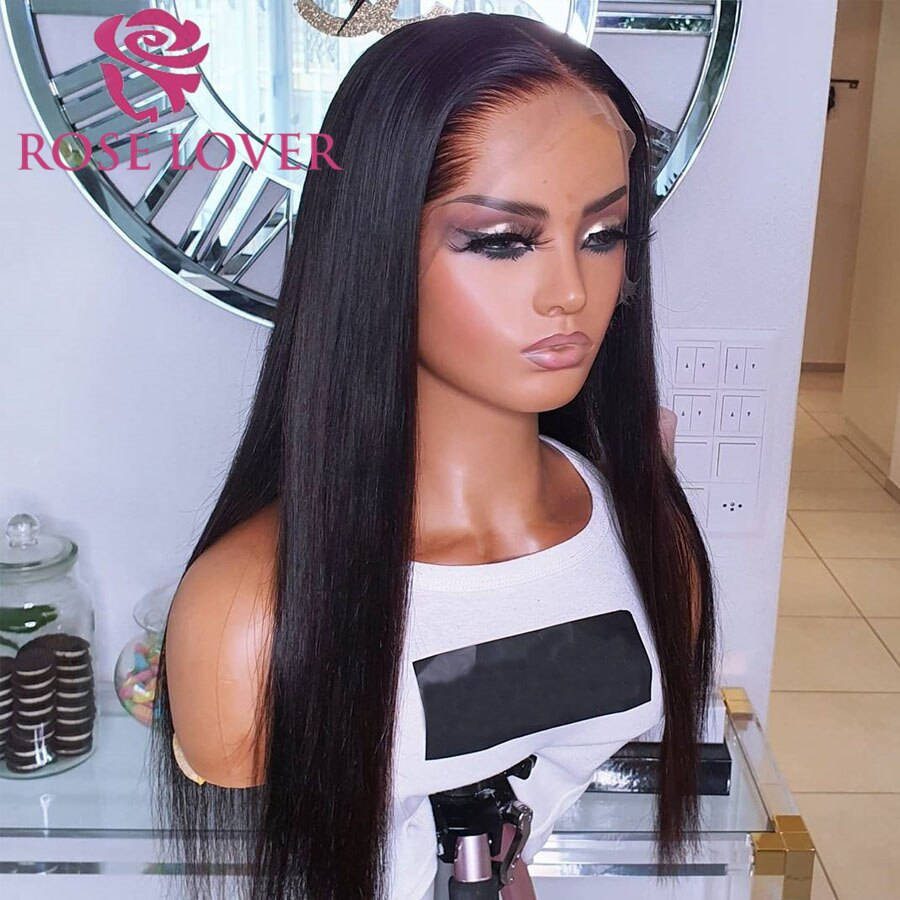 Lace Front Wig Human Hair Wigs 28 Inch Straight Hair Wig Transparent Lace Wig PrePlucked With Baby Hair Remy Lace Frontal Wig