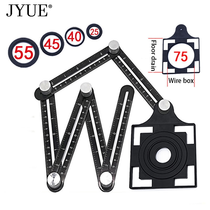 New construction tools aluminum alloy folding positioning ruler for DIY floor tile measuring tool adjustable tile hole locator