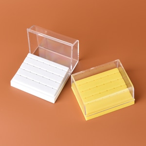 1PCS Yellow White 24 Holes Plastic Dental Bur Holder Disinfection Carbide Burs Block Drills Case Box