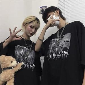 2020 Summer New Short-sleeved T-shirt Male Ins Dark Print Student Korean Style Loose Couple Shirt Half-sleeved Bottoming Shirt