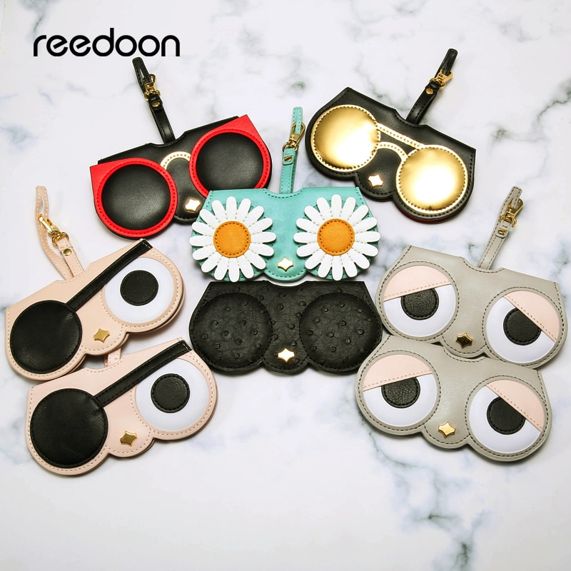 Reedoon capa de óculos de sol feminina, bolsa de couro pu, desenho animado, protetor para olhos