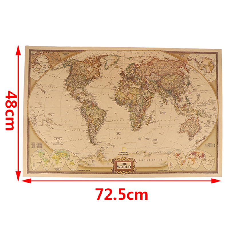 Náutico Oceano Sea World Map Retro Olhar Papier Sztuki Malarstwo Naklejka Salon Plakat Plakat Café Antique Home Decor 72.5*48cm