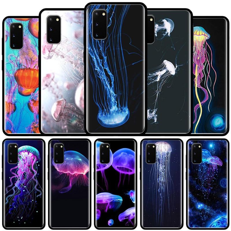 Luxury Jellyfish Case For Samsung Galaxy S10 5G S20 Ultra S9 S8 Plus S7 Note 8 9 10 Lite Soft Black Fundas Capa Caso