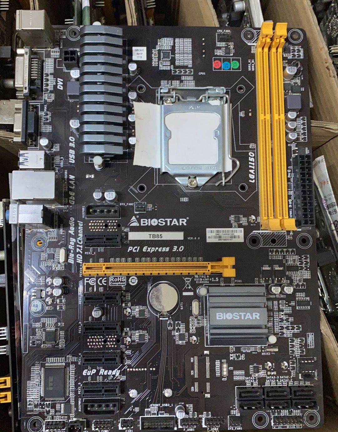 بيوستار TB85 6GPU 6PCI-E المهنية التعدين BTC الموالية تستخدم سطح اللوحة B85 LGA 1150 DDR3 16GB SATA3 USB2.0 USB3.0