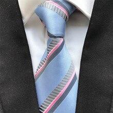 10 cm Width Classic Men's Ties Jacquard Woven Neck Tie Gravatas Silk Neckties Blue with Pink Stripes
