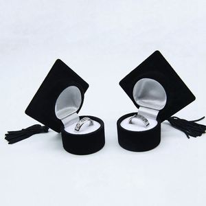 Bachelor's Hat Jewelry Box Storage Case Ring Holder for Graduation Ceremony