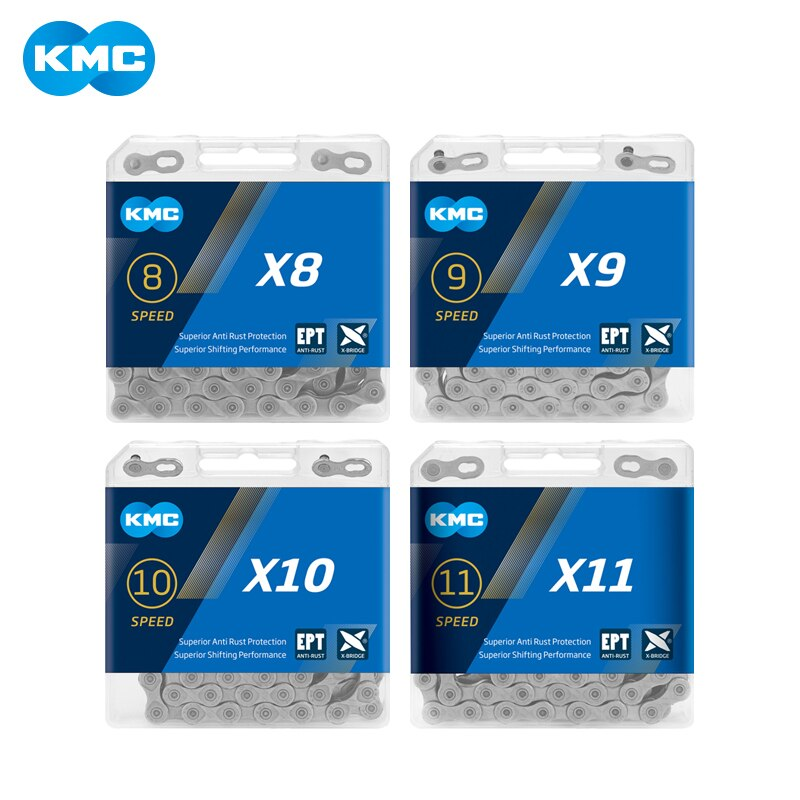 Cadena KMC X8/X9/X10/X11/EPT 116 enlaces, 8/9/10/11 velocidad plata previene el óxido Extra ligero doble mtb bicicleta de carretera cadena de bicicleta