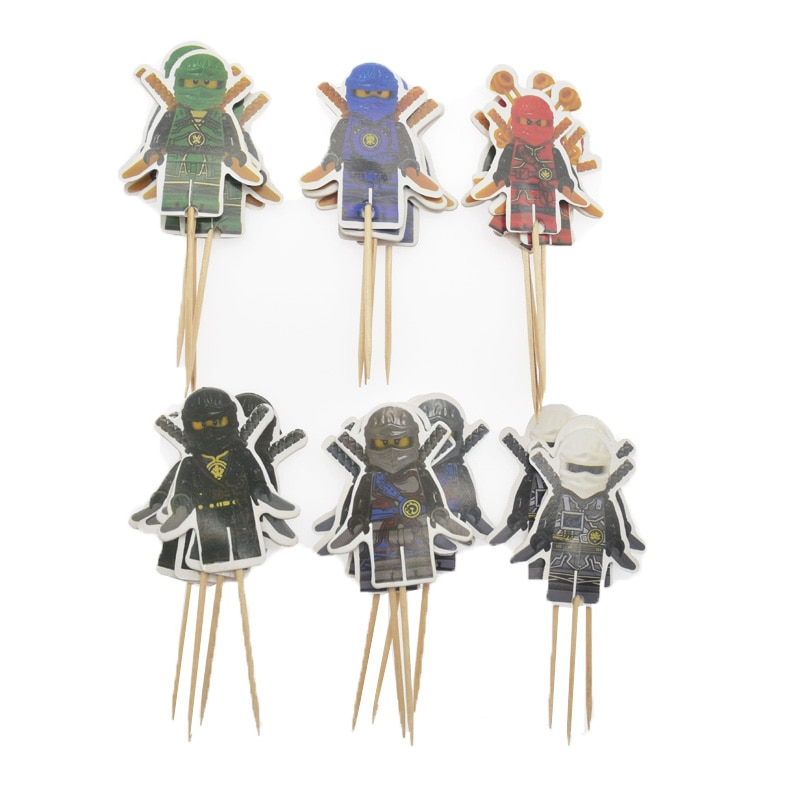 24/48pcs Ninja Cake Topper Birthday Party Decorations Kids Party Supplies Cake Flag Wedding Decoration baby shower