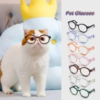 cute pet glasses dog teddy personality weird holiday accessories plastic clear cat casual round frame glasses 7 colors