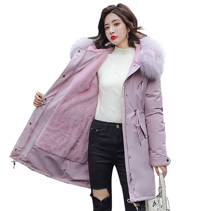 New Women Windproof Long Coat Autumn Winter Warm Removable Velvet Thicken Faux Fur Coats Parka Female Jacket Cotton Outwear LY08
