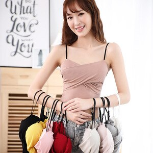2020 Korean-style Thread Camisole Adjustable Shoulder Strap Outer Wear Sexy Vest-Free Steel Ring with Chest Pad Wrap-around