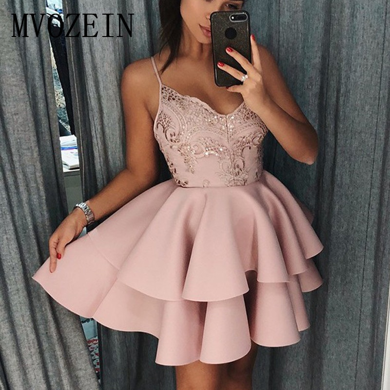 New Listing Pink Homecoming Dresses 2019 Satin A-Line Spaghetti Strap Lace Vestidos Party Gowns