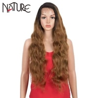 nature wig cosplay 30 inch lace wig water wave fake hair ombre brown wavy african american synthetic wigs for black women