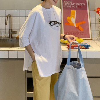 INS Clothes Women Harajuku Style Hong Kong Style Cotton Loose Bat Half Sleeve Top 3/4 Sleeve Mid-Length White T-shirt Women