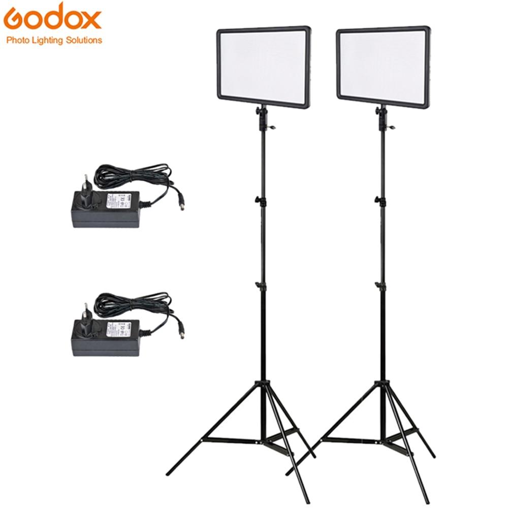 Godox-لوحة إضاءة فيديو LED فائقة النحافة ، 256 قطعة ، 2 متر حامل وحدة تحكم 30 واط ، 3300-5600 كيلو ، سطوع قابل للتعتيم