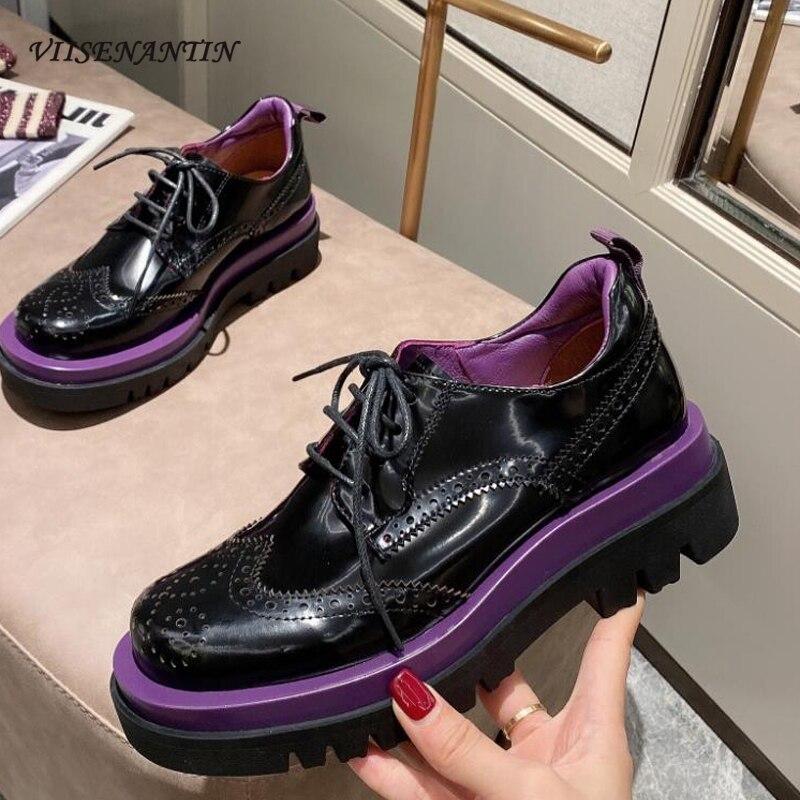 Zapatos Oxford combinables para Mujer, zapatillas de suela gruesa de cuero a...