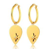 trendy stainless steel oval leaf hoop earrings for women north star charm gold color earings hoops fashion jewelry
