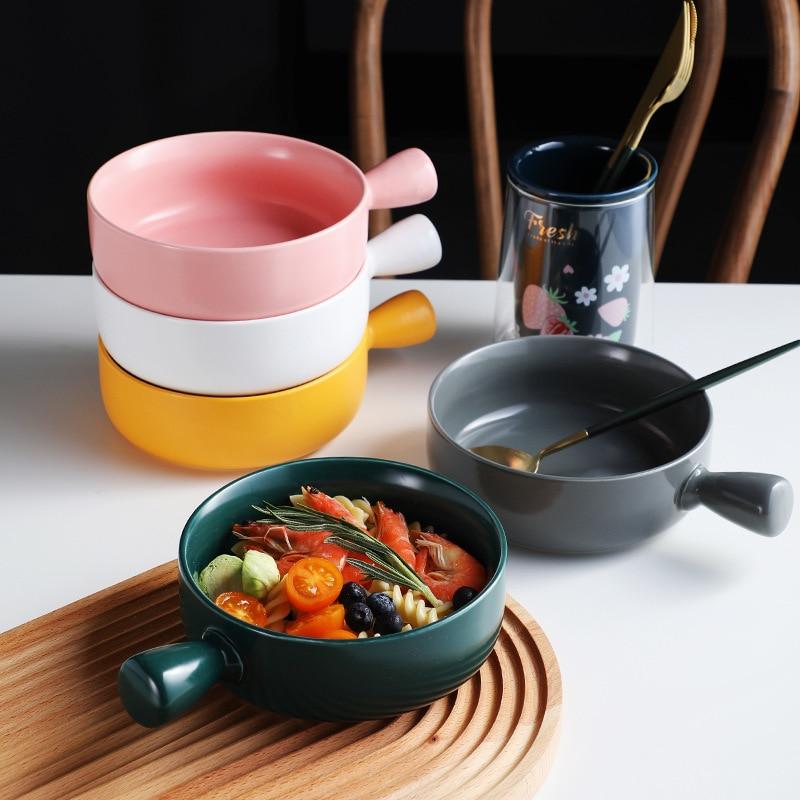 الإبداعية الإفطار Bowls المنزلية مقبض Bowls السيراميك خبز الأطباق المعكرونة الفورية Bowls اليابانية سلطة السلطانيات خبز سلطانيات للأرز