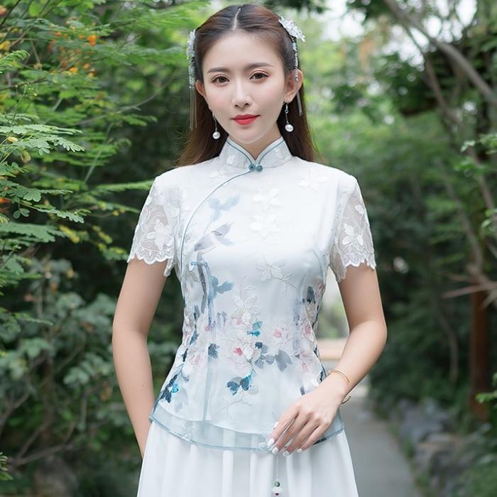 KYQIAO elegant blouse women spring autumn Chinese style vintage mandarin collar short sleeve print embroidery shirt