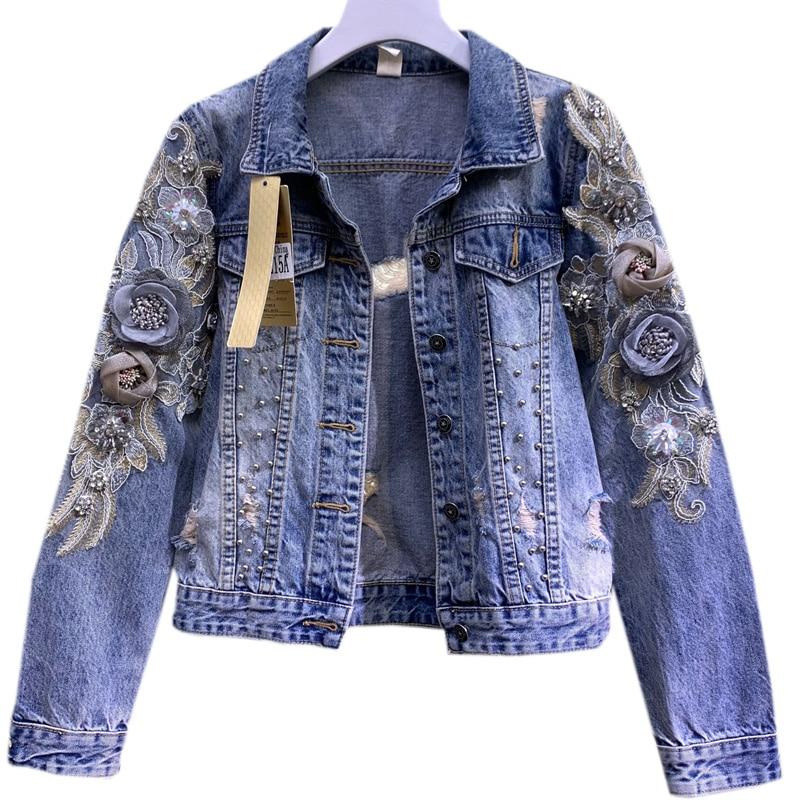 Женская джинсовая куртка 2021, весенне-осенняя джинсовая куртка с вышитыми объемными цветами, пальто, женская куртка, Abrigo Mujer