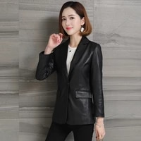 classic real leather jacket sheepskin blazer coats black genuine leather high quality red fashion slim fit jackets with pockets