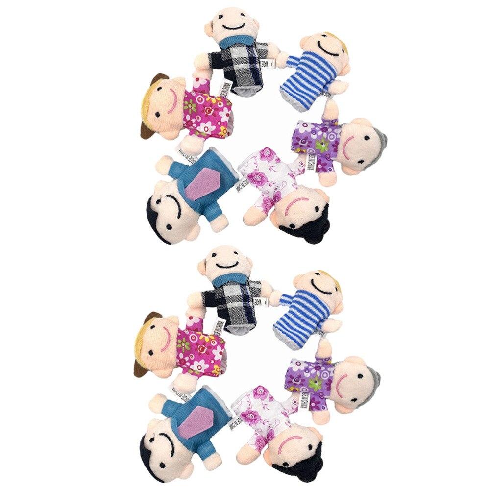 2 conjuntos/12 Uds Mini marionetas de dedos familia Mermbers marioneta de mano juguete educativo para edades tempranas para niños Aprendizaje Temprano jardín de infancia