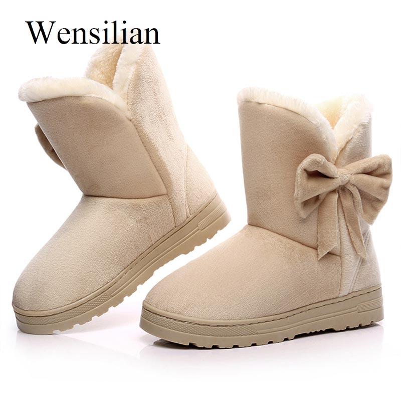 Botines de Invierno para Mujer, Botas Nudo de mariposa para nieve, zapatos de plataforma con punta redonda, Botas negras para Mujer