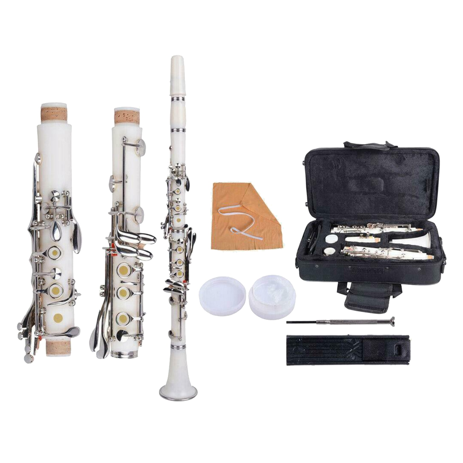 B Flat Beginner Student Clarinet with Case, Cleaning Cloth,Gloves,Reeds,Reeds Clip and Screwdriver Musical Instruments Kit enlarge