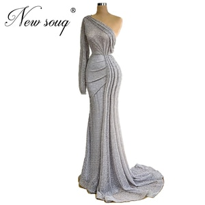 Grey Beaded Formal Dress One Shoulder Dubai Evening Dresses 2020 Robe De Soiree Custom Party Gown For Middle East African Prom
