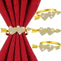 1pcs alloy heart shaped valentine napkin ring table decoration hollow family gatherings use napkin buckle holder dh
