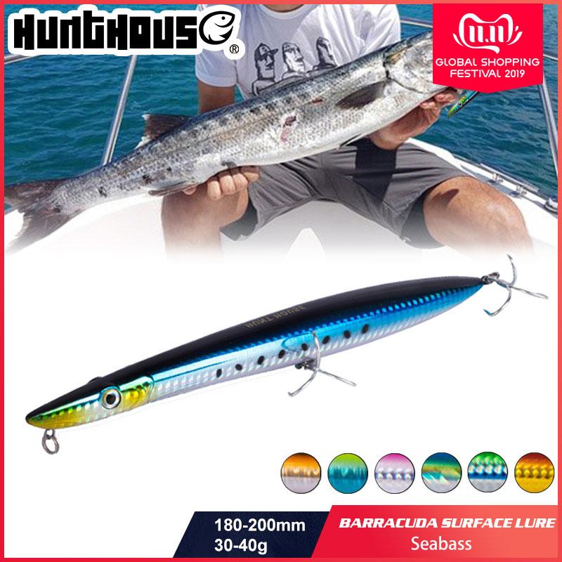 Hunthouse señuelo de pesca baracuda superficie señuelo 180mm/30g 200mm/40g long casting lápiz stickbait pesca flotante