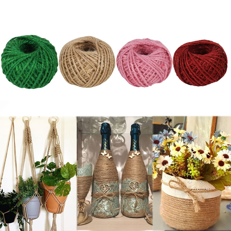 10m 5m mesh hollow natural jute twine rope string cord diy craft burlap scrapbook 30M Natural Burlap Hessian Jute Twine Cord Hemp Rope DIY home Craft Gift Packing Strings Wedding Christmas Party home decor gift