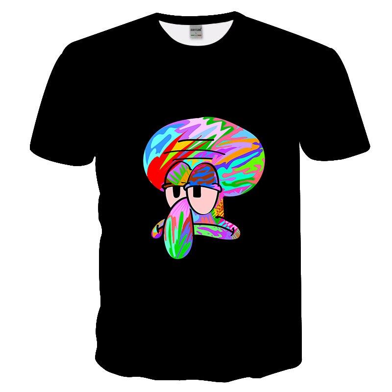 Modelo de verano 2019, camiseta exclusiva de arte de Anime para hombres, camiseta del ejército de Hip Hop, Camiseta con estampado 3D de Bob Esponja y calamar tentáculo, Top para hombres