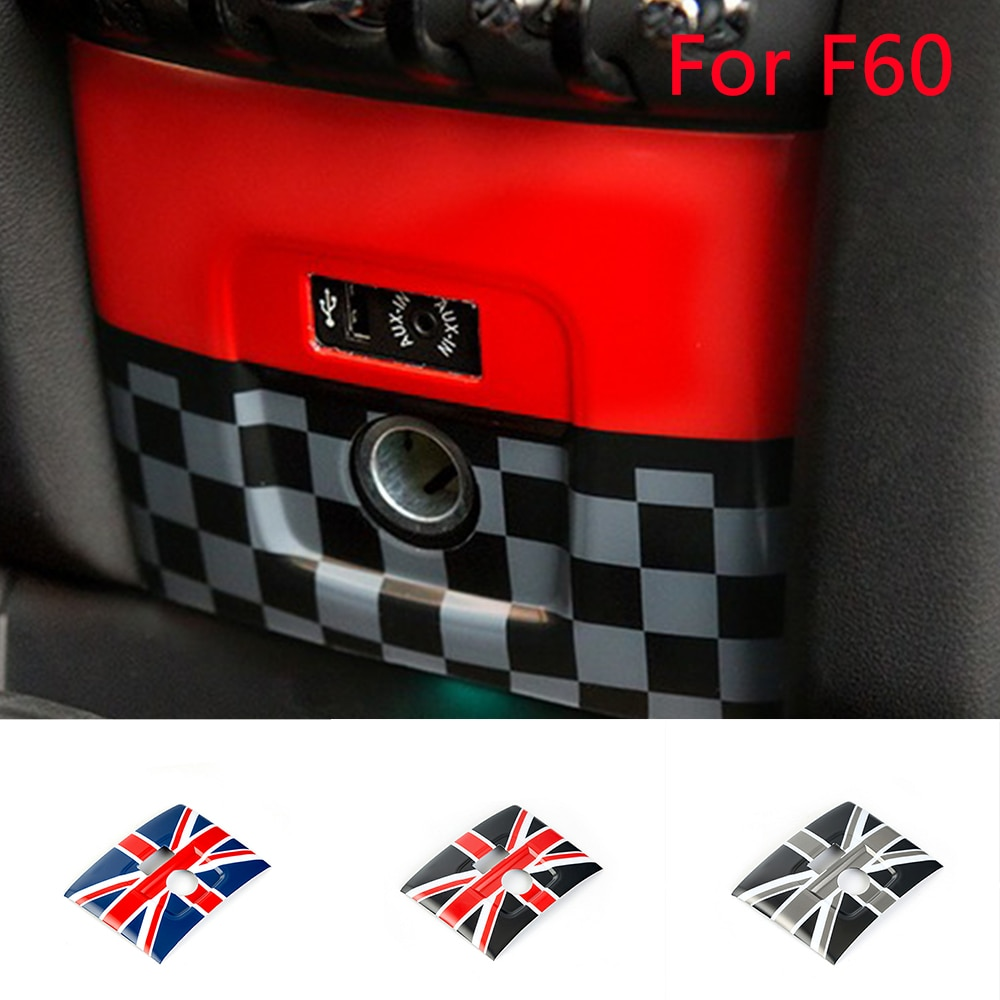 Автомобильный прикуриватель USB AUX панель Крышка рамка наклейка для Mini Cooper F60 Автомобильный Стайлинг интерьер отделка Аксессуары