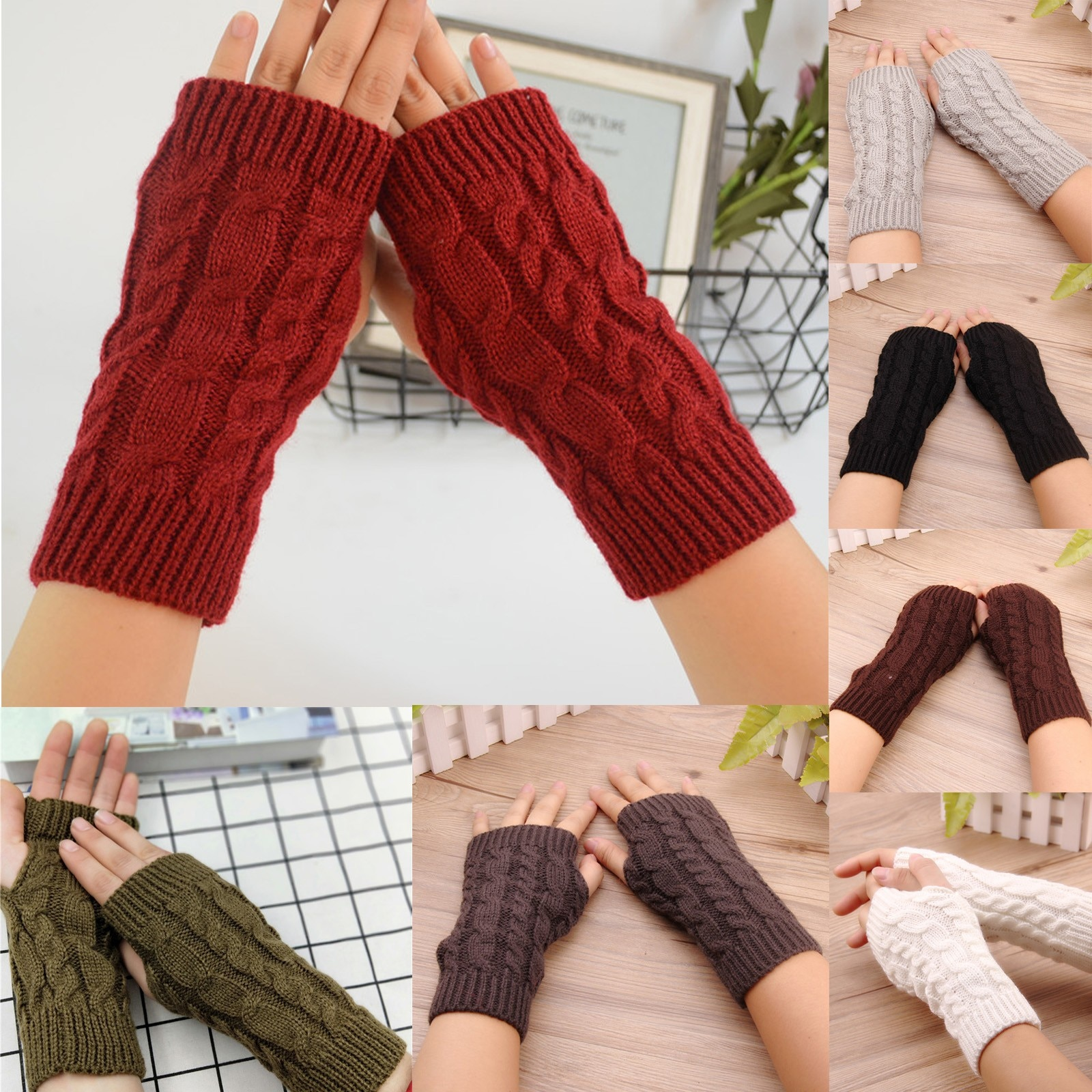 2020 New Women's Fingerless Gloves Stretch Knitted Keep Warm Winter Fashion Ladies Solid Gloves Ridi